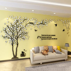 Color Leaves Tree Wall Stickers Home Decor Living Room 3D Acrylic Adesivos De Parede DIY Adhesivos De Pared Decoracion De Hogar - Slabiti