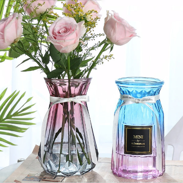 Colored glass vase Hydroponics Transparent Flower vase Simple Living Room Dining Room Decoration Color Dried Flower Vase