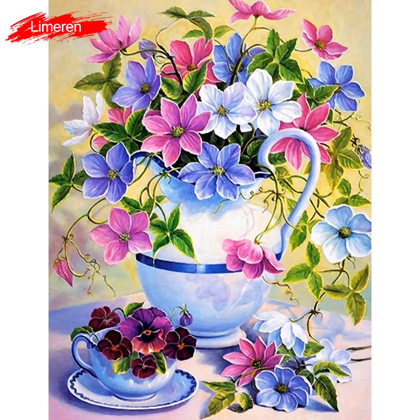 Colorful Flowers DIY Digital Oil Painting By Numbers Modern Wall Art Canvas Handpaint Unique Gift For Art Wall Home Decor - Slabiti
