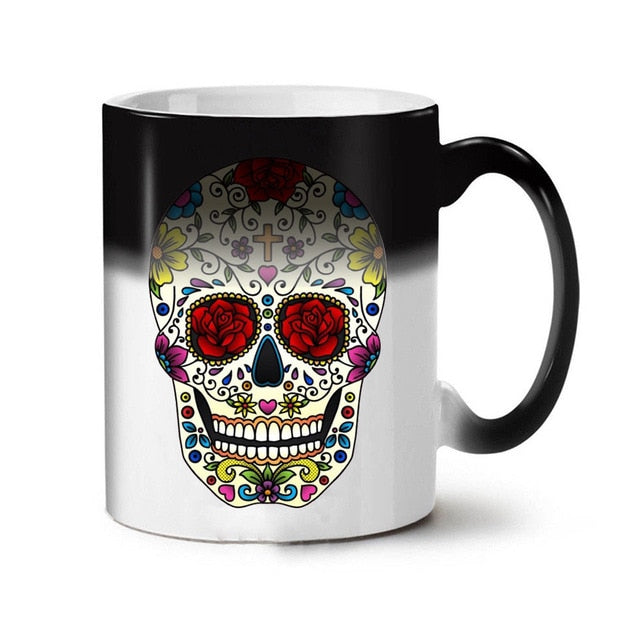 Colorful Skull Mugs Glass Heat Color Changing Cup Discoloration Magic Creative Personality Funny Ceramic Coffee Cup Mug Skull - Slabiti