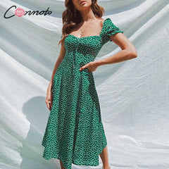 Conmoto 2019 Summer Vintage Party Dress Square Collar Ruffle Elegant Sexy Dress Beach Female Green Mid Dresses Vestidos - Slabiti