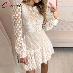 Conmoto Elegant White Mesh Party Dress Women  Autumn Winter  Short Polka Dot Lace Plus Size Dress Female Dress Vestidos - Slabiti