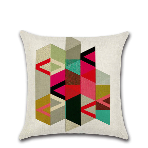 Cotton And Linen Irregular Geometric Pattern Pillow Case For Fashion Square Home Decorative Sofa Cushion Cover 45*45 Hug Pillows - Slabiti