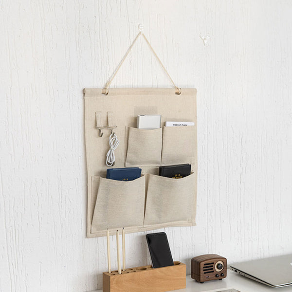Cotton And Linen Storage Bag With 2 Hooks For Home Keys Toy Classify Hanging Wall Pocket Organizer Multi-purpose Bags - Slabiti