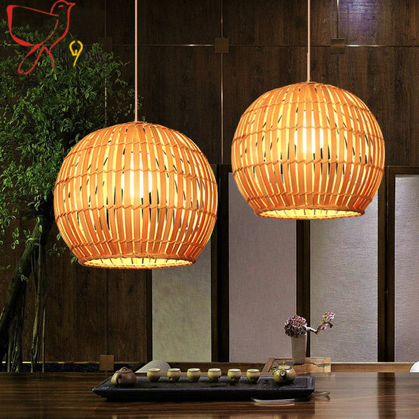 Country style bamboo Pendant Lights Southeast Asia style handmade Bamboo birdcages hanging lamp for restaurant coffee shop deco