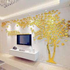 Couple Tree Mirror Wall Stickers Pegatinas Paredes Decoracion DIY 3D Acrylic Autocollant Mural Stickers Muraux Living Room Decal - Slabiti