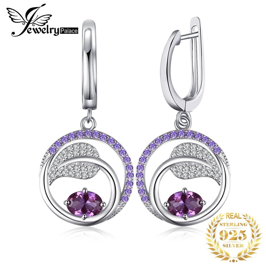 Created Alexandrite Sapphire Drop Earrings 925 Sterling Silver Earrings For Women Gemstone Korean Earrings Fashion Jewelry 2019 - Slabiti