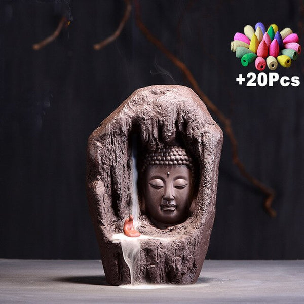Creative Buddha Statue Buddha Zen Waterfall Incense Burner Home Decor Purple Clay Incense Censer - Slabiti