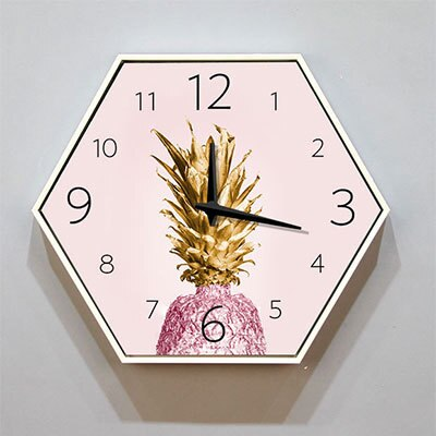 Creative Hexagon wall clock, living room clock, modern minimalism, creative fashion, super mute, bedroom clock - Slabiti