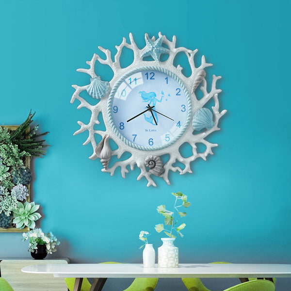 Creative Mediterranean wall clock simple living room personality clocks children's room girl decoration bedroom ultra quiet cloc - Slabiti