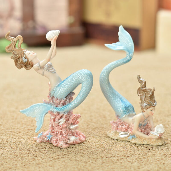 Creative Mermaid Princess Kawaii miniature garden Animals Fish Figurines Resin arts and crafts wedding gift home decoration