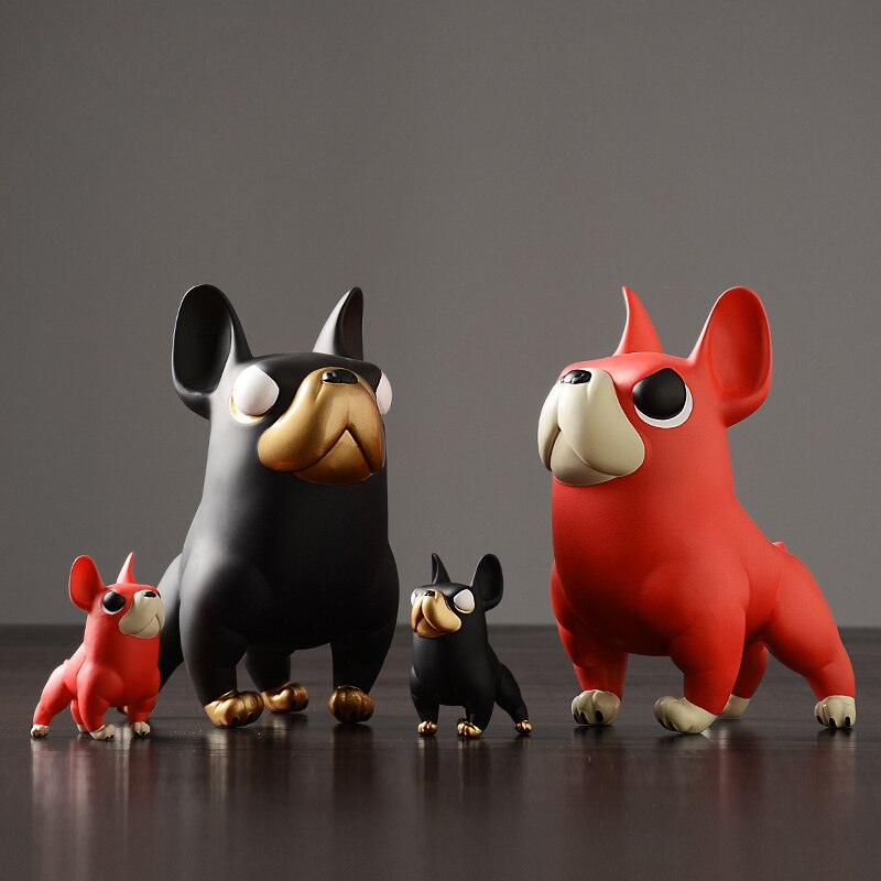 Creative french bulldog black/red Lovely animal dog Figurines & Miniatures arts and crafts ornaments home decoration accessories - Slabiti