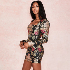 Cryptographic Jacquard Boned Bustier Black Long Sleeve Mini Dresses Square Collar Party Night Club Elegant Bodycon Dress Vestido - Slabiti