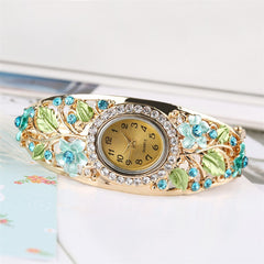 Crystal Colored Alloy Flower Analog Quartz Women's Bracelet Watches Elegant Small Dial Lady Wrist Watch 2019 New Famale Gifts - Slabiti