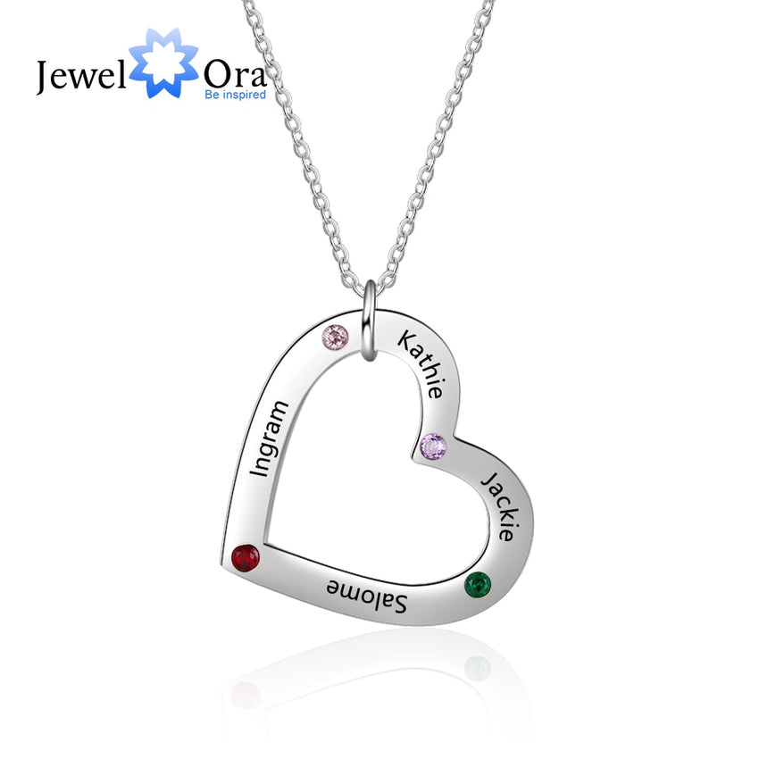 Custom 4 Names Necklace with Birthstone Stainless Steel Heart Pendant Necklace Personalized Gift for Family (JewelOra NE103249) - Slabiti