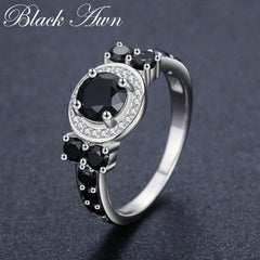 Cute 3.4g 925 Sterling Silver Fine Jewelry Round Bague Black Spinel Wedding Rings for Women Girl Party Gift C470 - Slabiti