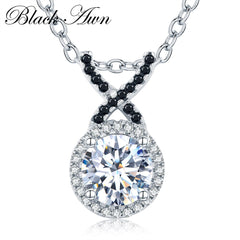 Cute 925 Sterling Silver Fine Jewelry Trendy Engagement Halo Necklaces & Pendants for Women Bijoux En Argent 925 P040 - Slabiti