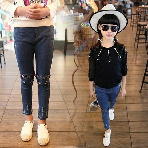 Cute Cartoon Pattern Kids Pants Denim Winter Autumn Lovely Cat Quality Children Pants Casual Trouses Baby Girls Girls Leggings - Slabiti