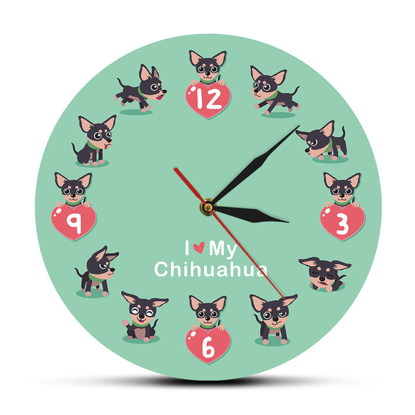 Cute Chi-chi Chihuahueno Cartoon Wall Clcok I Love My Chihuahua Unique Wall Art Modern Acrylic Wall Clock Decorative Wall Watch - Slabiti
