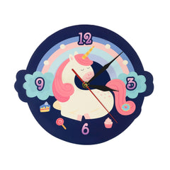 Cute Sweet Dream Unicorn Shaped Wall Clock Cartoon Unicorn With Colorful Rainbow Girl Room Clock Wall Watch Nursery Wall Decor - Slabiti