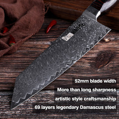Damascus steel chef knife Japanese vg10 master kitchen knives kiritsuke G10 handle handcraft sharp blade slicer cutlery fashion - Slabiti