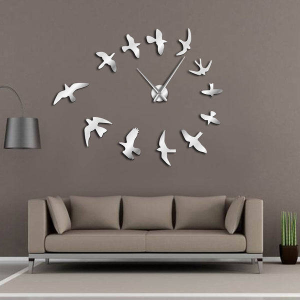 Decorative Mirror Wall Clock Flying Birds Wall Clock Modern Design Luxury Frameless DIY Large Clock Wall Watch Nature Room Decor - Slabiti