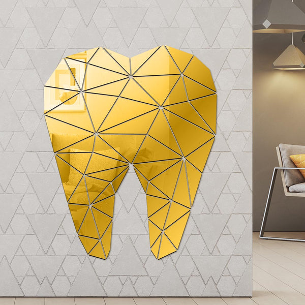 Dental Care Tooth Shaped Acrylic Mirrored Wall Stickers Dentist Clinic Stomatology 3D Wall Art Decal Orthodontics Office Decor - Slabiti