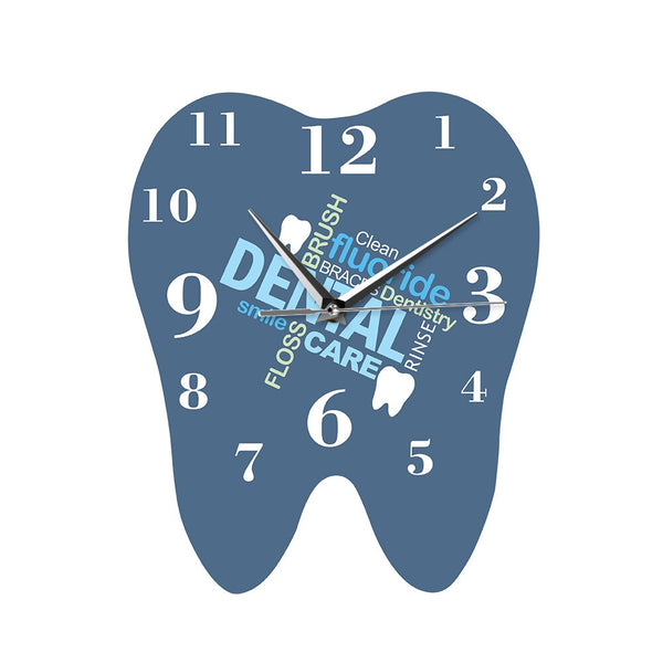 Dental Words Tooth Shaped Wall Clock Dentist Professional Wall Watch Decorative Clinic Ornament Dental Orthodontics Surgeon Gift - Slabiti