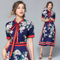 Designer Dresses Runway 2019 High Quality Autumn Casual Shirt Dress Women bow Vintage Dress Vestidos Robe Femme - Slabiti