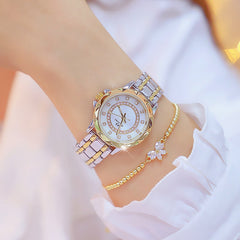 Diamond Women Watch Luxury Brand 2019 Rhinestone Elegant Ladies Watches Gold Clock Wrist Watches For Women relogio feminino XFCS - Slabiti