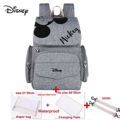 Disney Pre-design Multifunctional Baby Care Bag For Mom Fashion Double Shoulder Diaper Bag Nappy Backpack With Hooks Gray Black - Slabiti