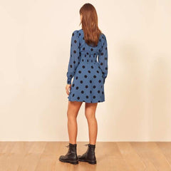 Dot Print Dress Chiffon Mini Party Dress A Line Long Sleeve Clothing 2020 Female Casual Striped V-Neck Elegant Sundress - Slabiti