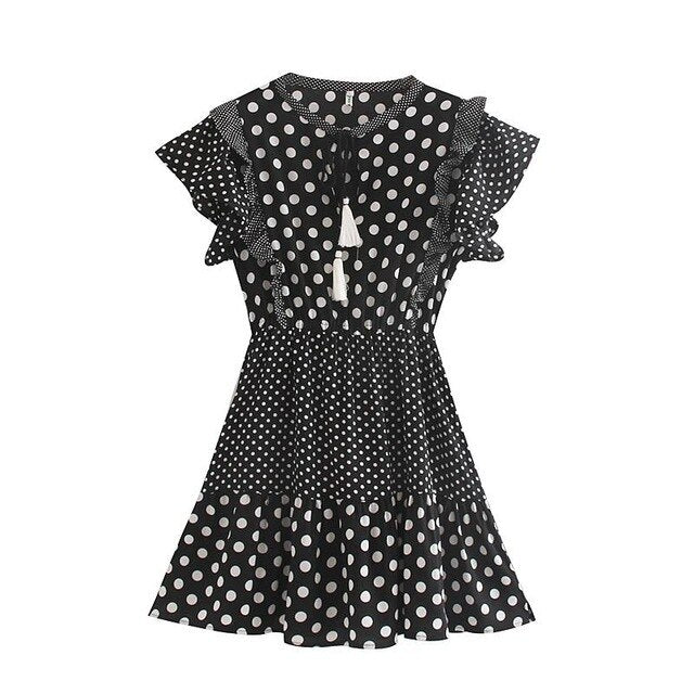 Dot Print Mini Dress Femme Drawstring Party Dress Women V-neck Short Sleeve Mini Dress 2020 New Girl's Vintage Dress - Slabiti