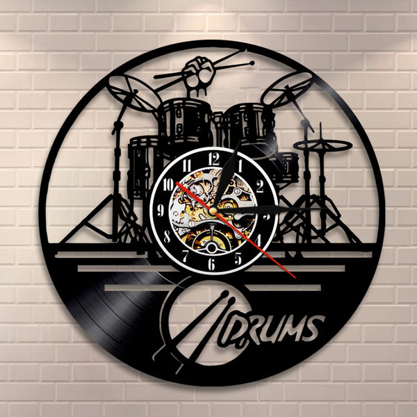 Drummers Personalized Drum Wall Clock Music Instrument Drum Kit Wall Decor Vinyl Record Wall Clock Music Lover Drummers Gift - Slabiti