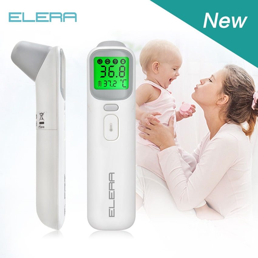 ELERA Baby Digital Thermometer Forehead Ear Non-Contact Body Termometro Infrared LCD Adult Body Fever IR Children Termometer - Slabiti