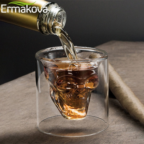 ERMAKOVA 25ml/75ml/150ml Glass Skull Shot Glass Wine Beer Glass for Whiskey Wine Vodka Bar Club Beer Party Hotel Wedding Glass - Slabiti