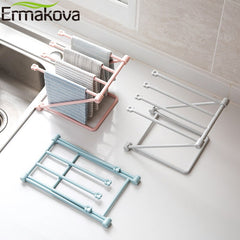 ERMAKOVA Folding Dishcloth Stand Rack 4 Layers Towel Storage Hanging Rack Organizer Bottle Dry Rack Cup Drain Stand - Slabiti