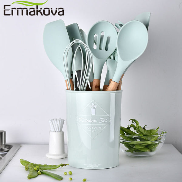 ERMAKOVA Silicone Cooking Utensils Set Non-stick Spatula Shovel Wooden Handle Cooking Tools Set With Storage Box Kitchen Tools - Slabiti