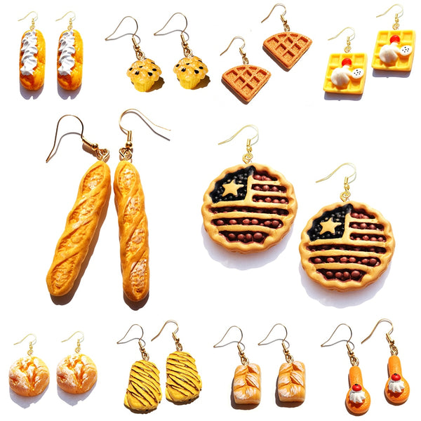 Earring For Women Resin Drop Custom Made Cute Girls Eardrop Funny Bread Baguette Pie Cookies Gift Handmade - Slabiti