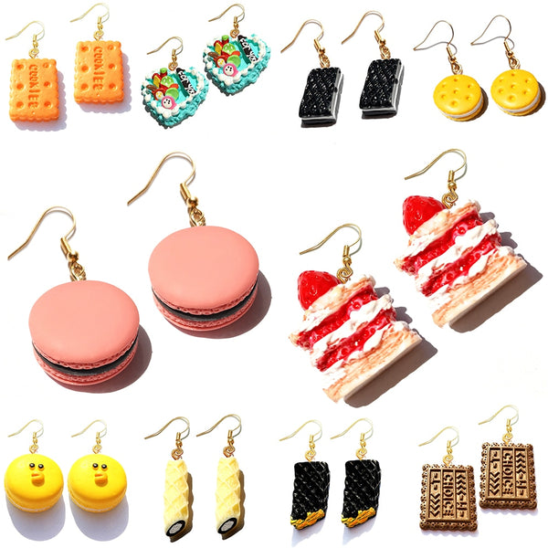 Earring For Women Resin Drop Custom Made Handmade Cute Girls Gift Cookies Macaron Cake Food Donuts - Slabiti