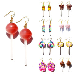 Earring For Women Resin Lollipop Drop Earrings Children Jewelry Custom Made Handmade Cute Girls Cotton Candy Gift - Slabiti