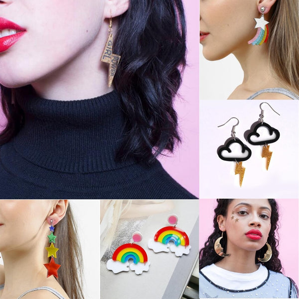 Earrings For Women Kelly Earrings Fashion Charm Exaggerated Eardrop Trendy Hip Hop Girls Gift Cute Rainbow Stars Lightning - Slabiti