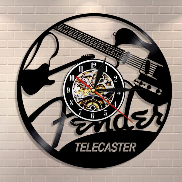 Electric Guitar Design Vinyl Record Wall Clock Musical Instruments Music Studio Unique Modern Art Vintage Vinyl LP Wall Watch - Slabiti