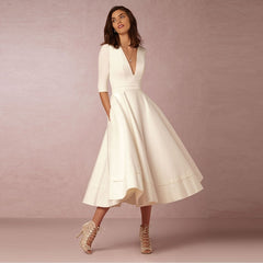 Elegant A-Line V Neck White Maxi Dresses Half Sleeves Simple Sexy Night Club Long Dress Solid Color Female Office Casual Dress - Slabiti