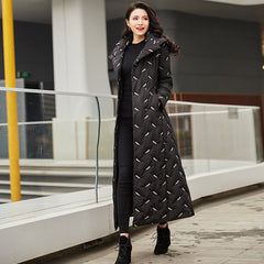 Elegant Black Embroidered Winter Women Jacket Detachable Hooded Stand Collar Double-breasted Long Down Coat Parka Female Outwear - Slabiti