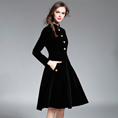 Elegant Black Velvet Dress Winter Dresses Retro Women 2018 Audrey Hepburn Long Sleeve Ladies Office Dress Vestidos Robe D7D221C - Slabiti