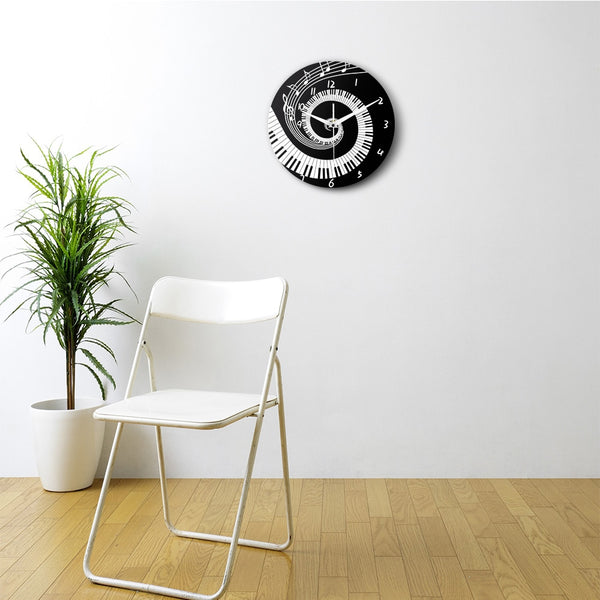 Elegant Piano Keys Black and White Modern Wall Clock Music Notes Wave Round Music Keyboard Wall Clock Music Lover Pianist Gift - Slabiti
