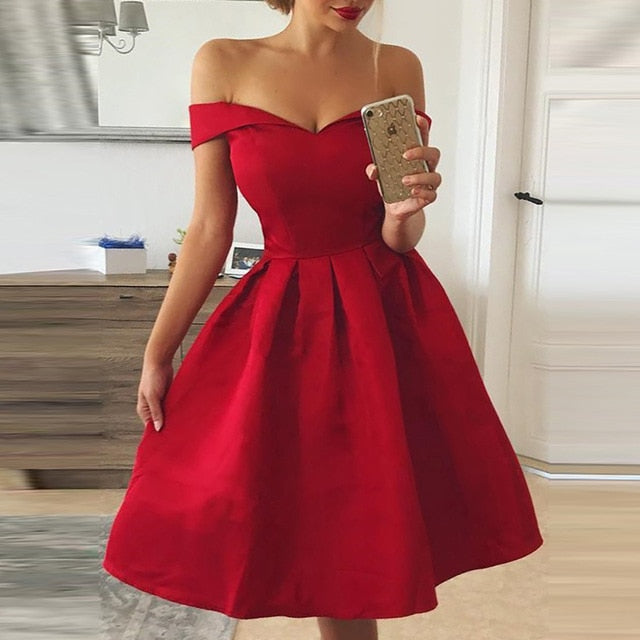Elegant Red Dress Women Patchwork Slash Neck Short Sleeve Tunic Dress 2019 Summer Lady Sexy Prom Gown Evening Party Dresses D30 - Slabiti