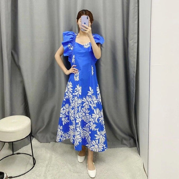 Elegant Ruffles Women Long Dress Floral Spring Sexy V-neck Sashes Maxi Dress Evening Party Female Dress Vestidos - Slabiti