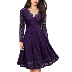 Elegant Sexy Dress for Women Vintage Lace Long Sleeve Wine red Black Blue Robe Femme Casual Dresses Woman Party Night 2019 - Slabiti